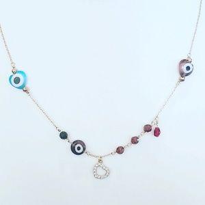 14k gold plated evil eye bead gemstone Necklace